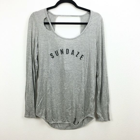 """Knit Riot Tops - Knit Riot Gray """"Sundaze"""" Graphic Long Sleeve Top"""